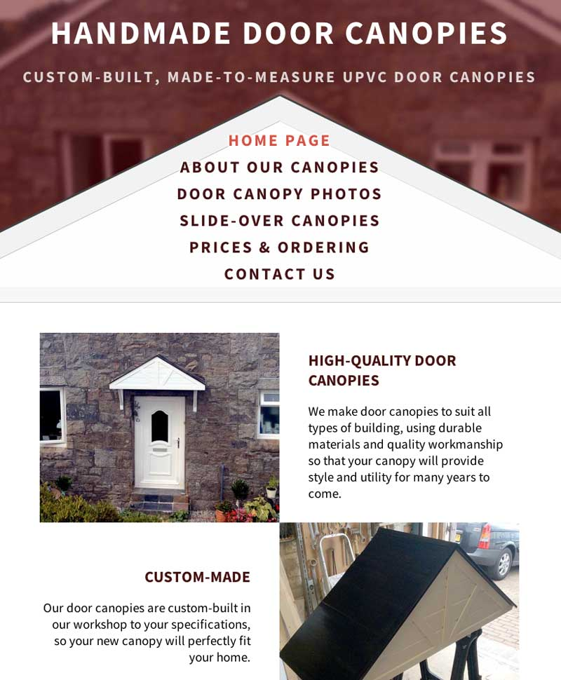 Screenshot of the Handmade Door Canopies website