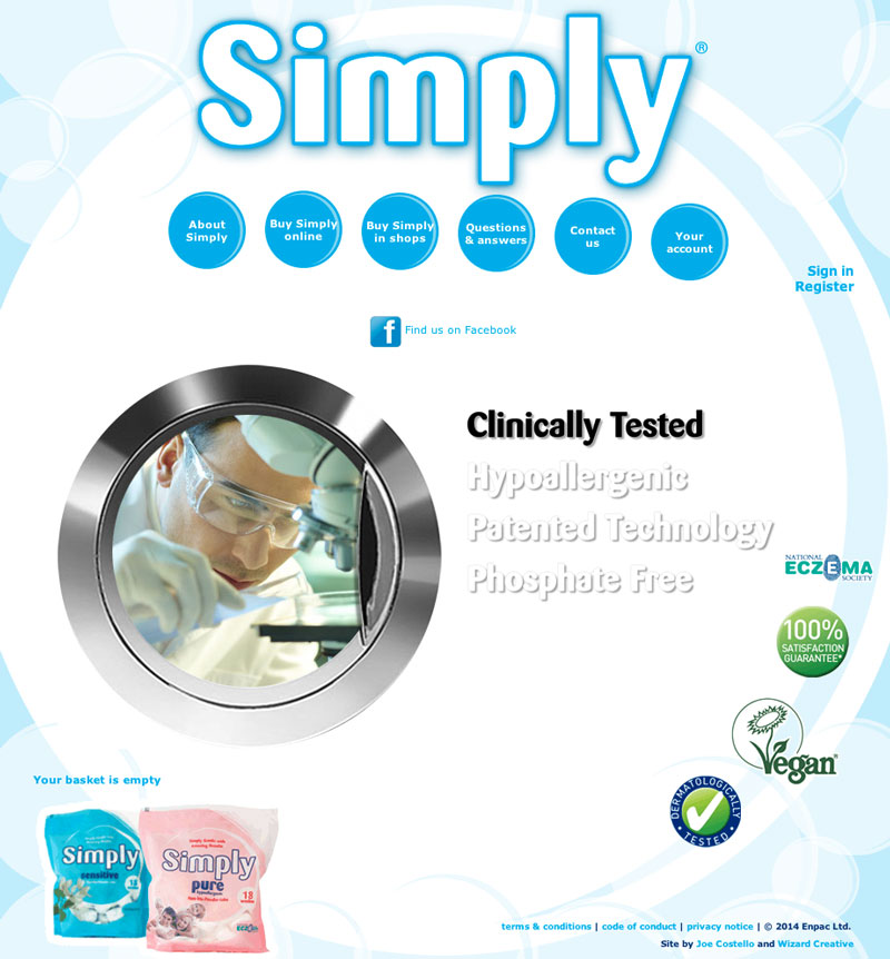 Screenshot of the Simply Washing website