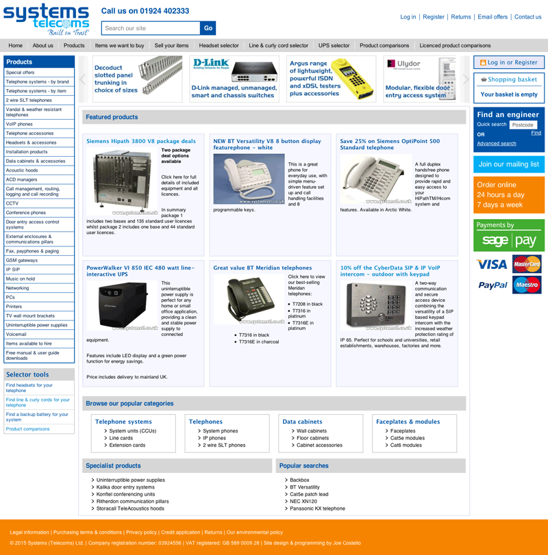 Screenshot of Systems Telecoms' website